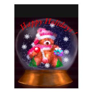 Frohe Feiertage Schnee-Kugel Postkarte