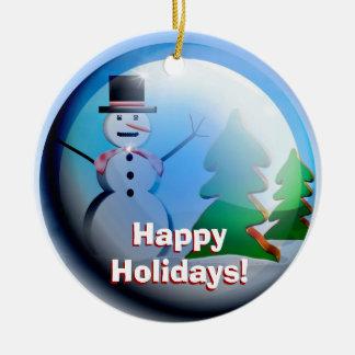 Frohe Feiertage Schnee-Kugel-Verzierung Rundes Keramik Ornament
