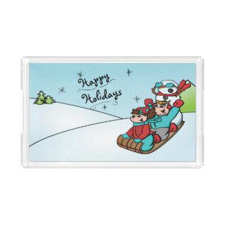 Frohe Feiertage Schneemann-Behälter Acryl Tablett