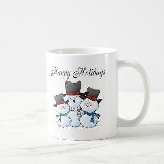 Frohe Feiertage Schneemann-Familie Kaffeetasse