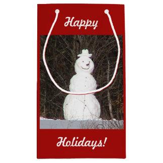Frohe Feiertage Schneemann-Geschenk-Tasche Kleine Geschenktüte