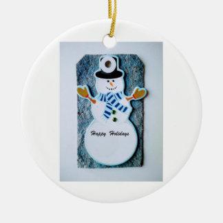 Frohe Feiertage Schneemann-Verzierung mit Beutel Keramik Ornament