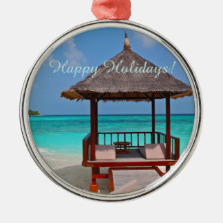 Frohe Feiertage schöne Malediven-Inseln Silbernes Ornament