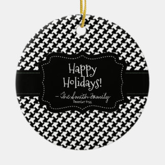 Frohe Feiertage. Schwarzes Abzeichen-u. Keramik Ornament