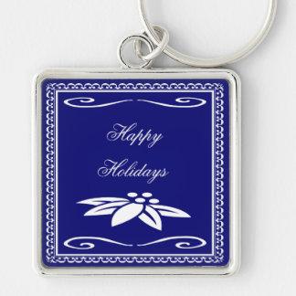 Frohe Feiertage Silberfarbener Quadratischer Schlüsselanhänger
