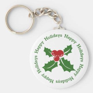 Frohe Feiertage Stechpalmen-Beere Keychain Schlüsselanhänger