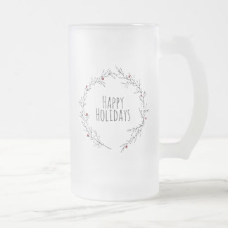 Frohe Feiertage Stechpalmen-Kranz Mattglas Bierglas