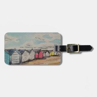 Frohe Feiertage Strand-Hütten-Gepäckanhänger Adress Schild