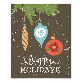 Frohe Feiertage verziert Weihnachten dekoratives Fotodruck