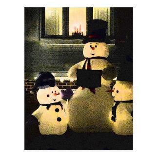 Frohe Feiertage von den Schneemännern Postkarte