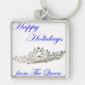 Frohe Feiertage von der Königin Silberfarbener Quadratischer Schlüsselanhänger