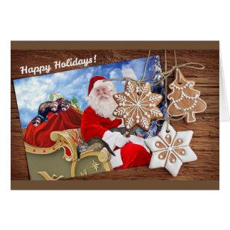 Frohe Feiertage von Sankt und von seinen Frettchen Karte