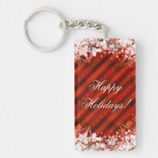 Frohe Feiertage WeihnachtenKeychain Rot Einseitiger Rechteckiger Acryl Schlüsselanhänger