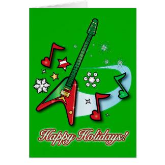 Frohe Feiertage Weihnachtsfelsen-Gitarre und Karte