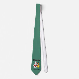 Frohe Feiertage Weihnachtsmann-Ren-Umarmung Bedruckte Krawatten