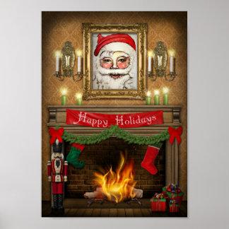 Frohe Feiertage Weihnachtsnussknacker-Kamin Poster