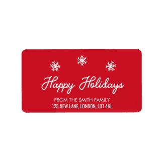 Frohe Feiertage - Weihnachtsroter und weißer Adressaufkleber