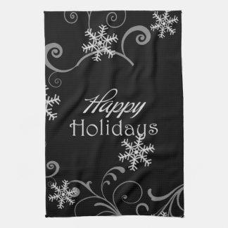 Frohe Feiertage weiße Schneeflocken auf Schwarzem Handtuch