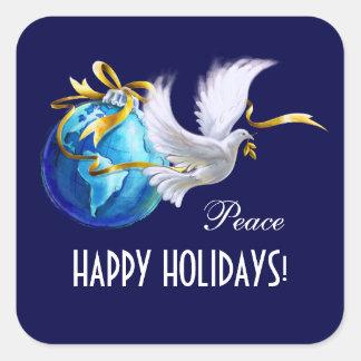 Frohe Feiertage. Weltfrieden-Gewohnheits-Aufkleber Quadratischer Aufkleber