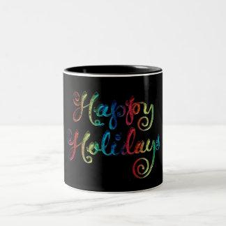 Frohe Feiertage Zweifarbige Tasse