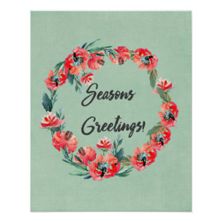 Frohe Festtageroter BlumenWatercolorWreath Poster