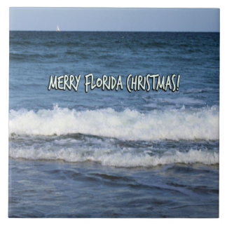Frohe Florida-Weihnachten über dem Ozean Keramikfliese