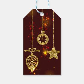 Frohe funkelnder Weihnacht-roter Feiertags-Glitter Geschenkanhänger
