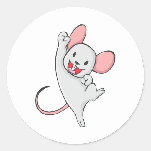 Frohe Maus Runde Aufkleber