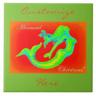 frohe Meerjungfrauweihnachten rot/Grün Keramikfliese