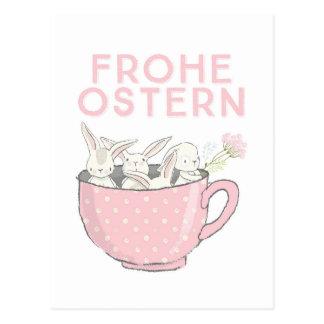 Frohe Ostern Hasen in der Tasse Postkarte