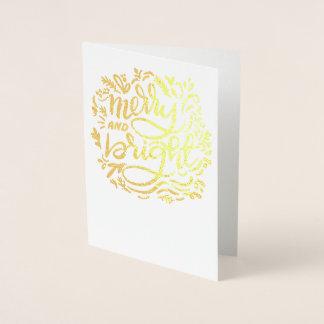 Frohe und helle Weihnachten Handlettered golden Folienkarte
