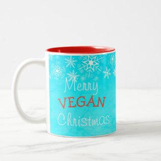 Frohe vegane Weihnachten, blaue Tasse für veganes