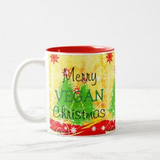Frohe vegane Weihnachten, WeihnachtsTasse für Zweifarbige Tasse