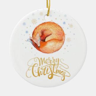 Frohe Weihnacht-AquarellFox und Schneeflocken Rundes Keramik Ornament