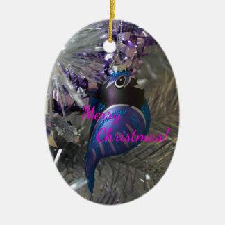 Frohe Weihnacht-atemberaubende blaue Keramik Ornament