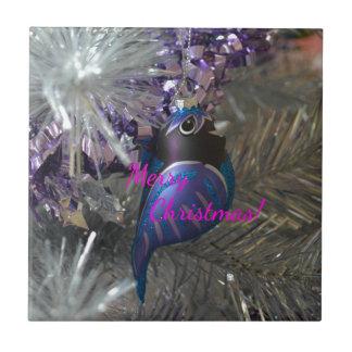 Frohe Weihnacht-atemberaubende blaue Kleine Quadratische Fliese
