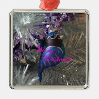 Frohe Weihnacht-atemberaubende blaue Silbernes Ornament