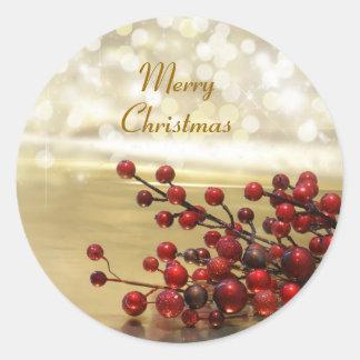 Frohe Weihnacht-Aufkleber Runder Aufkleber