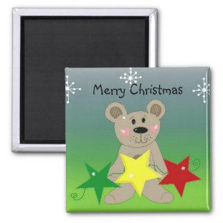 Frohe Weihnacht-Bär Quadratischer Magnet