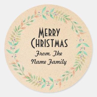 Frohe Weihnacht-beige rustikaler Runder Aufkleber