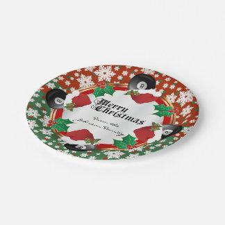 Frohe Weihnacht-Billard-Liebhaber Pappteller
