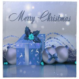 Frohe Weihnacht-Blau-Flitter Stoffserviette