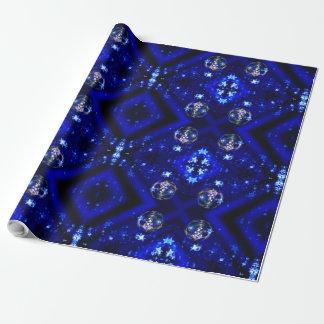 Frohe Weihnacht-blaue Stern-Flitter-Verzierungen Geschenkpapier