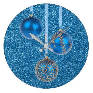 Frohe Weihnacht-blauer Glitter-Flitter elegant Große Wanduhr