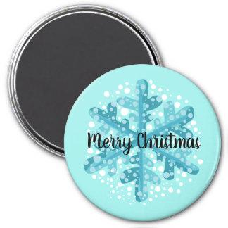 Frohe Weihnacht-blauer Runder Magnet 7,6 Cm