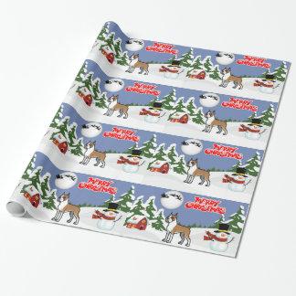 Frohe Weihnacht-Boxer mit einem Schneemann und Geschenkpapier