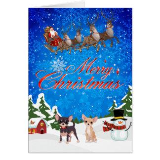 Frohe Weihnacht-Chihuahua mit Sankt Karte