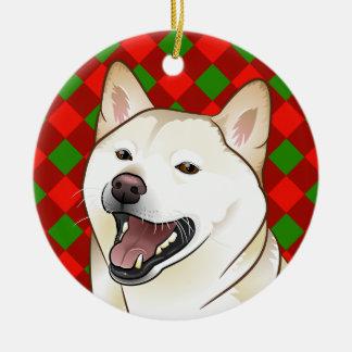 Frohe Weihnacht-Creme Shiba Inu Verzierung Keramik Ornament