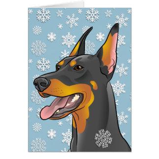 Frohe Weihnacht-Dobermann-Hundekundengerechte Karte