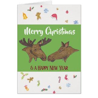 Frohe Weihnacht-Elche Karte